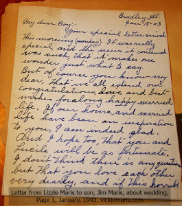 Photo of page 1 of a 1943 letter from a mom to a son fighting in World War 2.